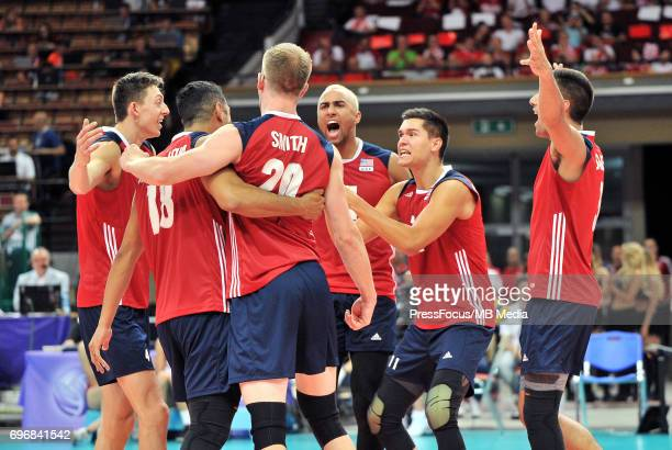 Muagututia Garrett Smith David Patch Benjamin reacts during the FIVB World League 2017 match between Iran and USA at Arena Spodek on June 15 2017 in...