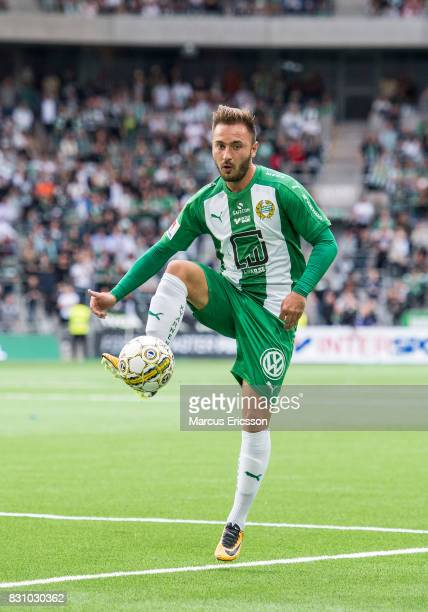 Muamer Tankovic of Hammarby IF during the Allsvenskan match between Hammarby IF and Ostersunds FK at Tele2 Arena on August 14 2017 in Stockholm Sweden