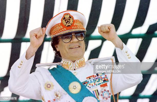 Muammar Gaddafi a the military parade for the 30th anniversary of the Revolution in 1999