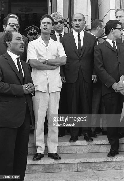 Muammar Gaddafi and Anwar Sadat after Nasser's funeral