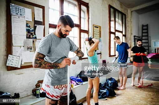 Muay thai boxer getting ready for training session