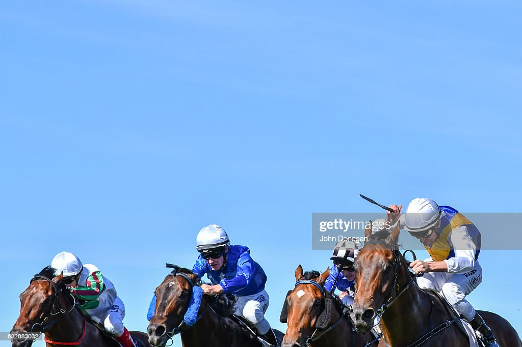 Mubakkir ridden by Steven Arnold wins the Patrobas Handicap at Flemington Racecourse on January 28, 2017 in Flemington, Australia.