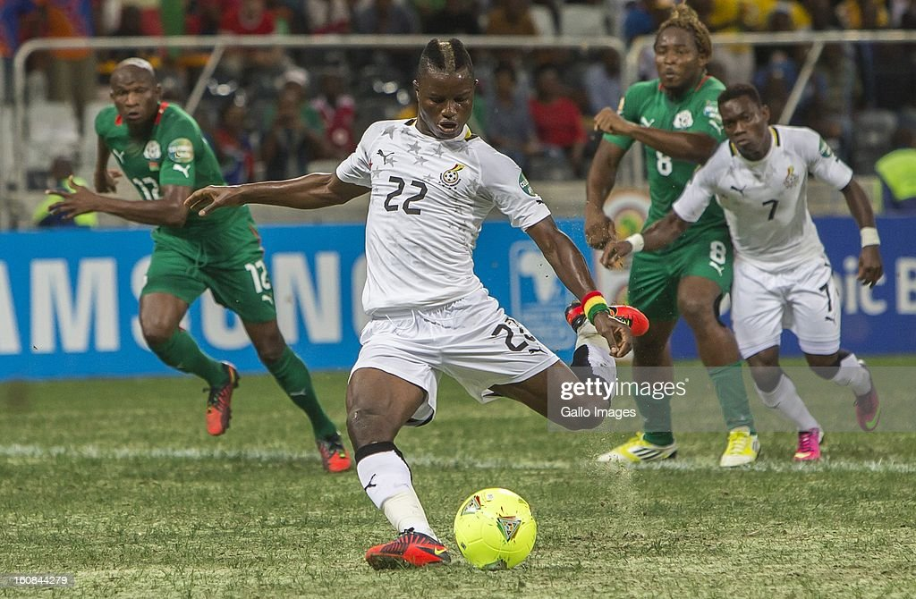 Mubarak Wakaso of Ghana scores the opening goal with a penalty kit during the 2013 Orange African Cup of Nations 2nd Semi Final match between Burkina Faso and Ghana at Mbombela Stadium on February 06, 2013 in Nelspruit, South Africa.