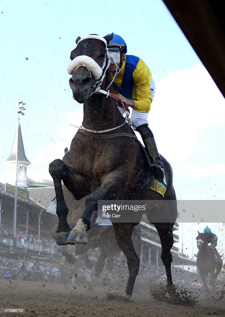 Mubtaahij #6, ridden by <a gi-track='captionPersonalityLinkClicked' href=/galleries/search?phrase=Christophe+Soumillon&family=editorial&specificpeople=453308 ng-click='$event.stopPropagation()'>Christophe Soumillon</a>, races down frontstretch during the 141st running of the Kentucky Derby at Churchill Downs on May 2, 2015 in Louisville, Kentucky.