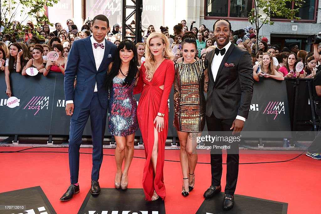 MuchMusic VJ's Scott Willat, Lauren Toyota, Liz Trinnear, Phoebe Dykstra and Tyrone T-REXXX' Edwards arrive at the 2013 MuchMusic Video Awards at the MuchMusic HQ on June 17, 2013 in Toronto, Canada.at MuchMusic HQ on June 16, 2013 in Toronto, Canada.