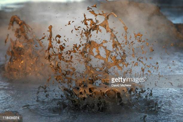 Mud boils violently in steam vents that until recently were underwater on the floor of the Salton Sea on June 30 near Calipatria California...