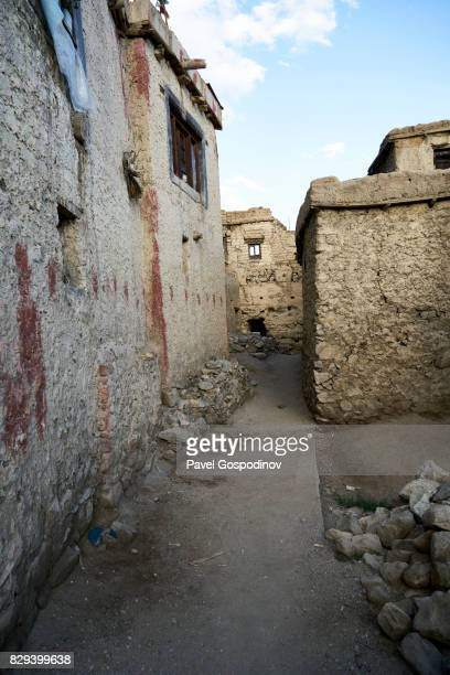 Mud Brick Houses On A Small Street In The Old Part Of The Town Of Let, Ladakh