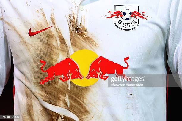 A mud covered match worn jersey of Leipzig during the DFB Cup round two match between SpVgg Unterhaching and RB Leipzig at Alpenbauer Sportpark on...