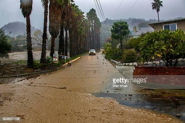 JANUARY 05 2016 Mud flows down Hicrest Road due to heavy rain in Glendora California January 5 2016