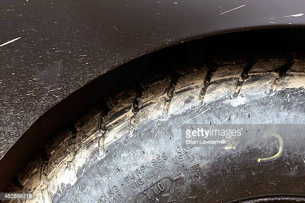 Mud is seen in the tire treads of a truck at Eldora Speedway on July 23 2014 in Rossburg Ohio