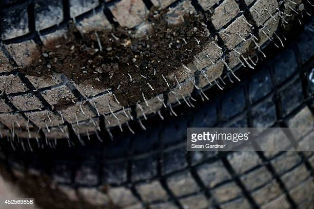 Mud is seen on the treads of a tire at Eldora Speedway on July 23 2014 in Rossburg Ohio