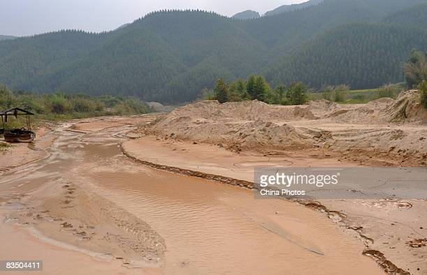 A mud river caused by overexploitation of ceramic earth is seen at the Yuantan Township since many ceramics companies was shifted from China's...