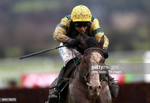 A mud splattered Forgotten Goild ridden by Paddy Brennan in the Shloer Novicesacute Chase during day one of The International meeting at Cheltenham...