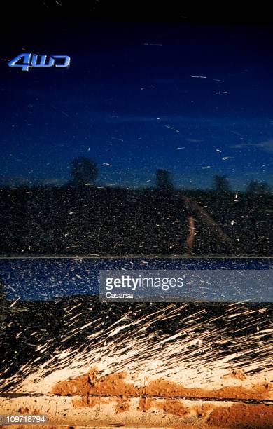 Mud Spray mit Geländewagen Truck Tür