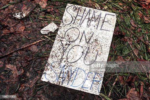 A muddied trampled protestor's sign lies on the ground where union members from around the country rally at the Michigan State Capitol to protest a...