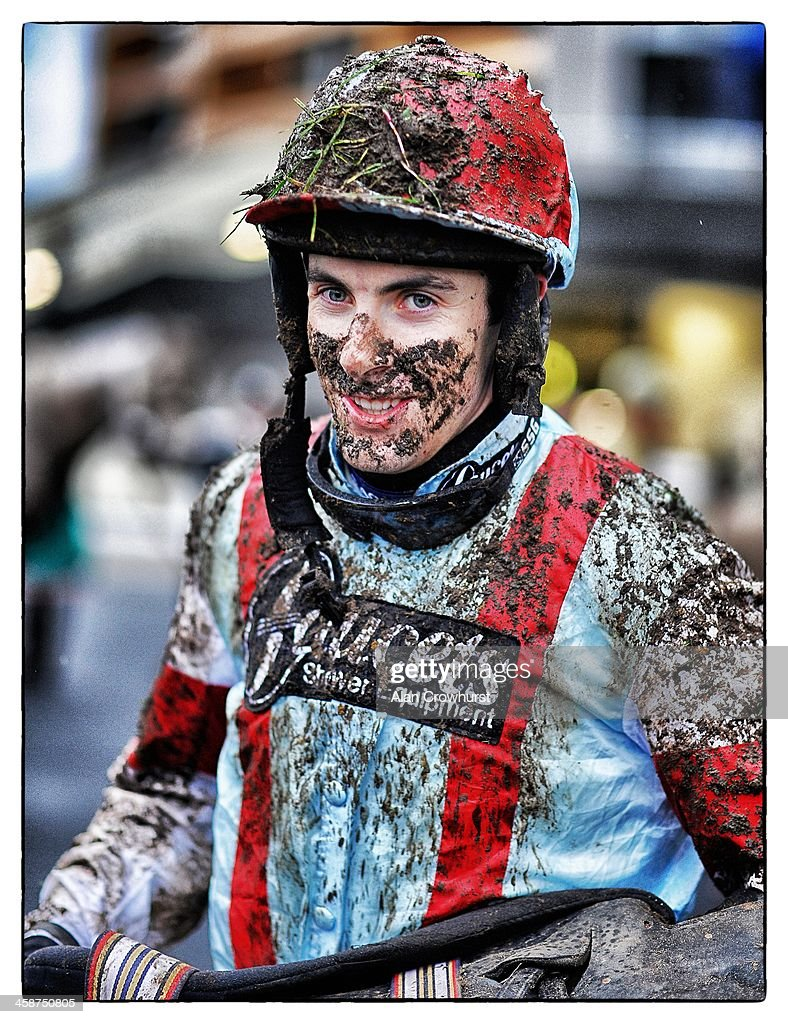 A muddy Aidan Coleman at Ascot racecourse on December 21, 2013 in Ascot, England.