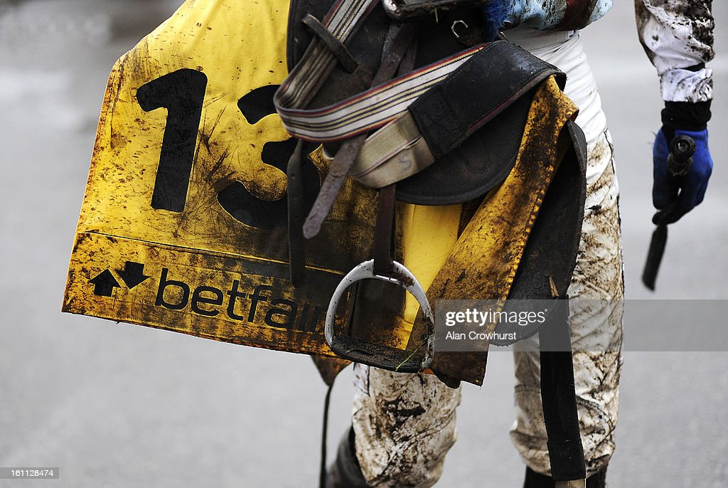 A muddy day at Newbury racecourse on February 09, 2013 in Newbury, England.