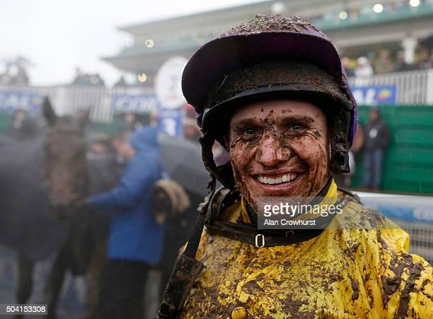 A muddy Jamie Moore after riding Mountainous to win The Coral Welsh Grand National at Chepstow racecourse on January 09 2016 in Chepstow Wales