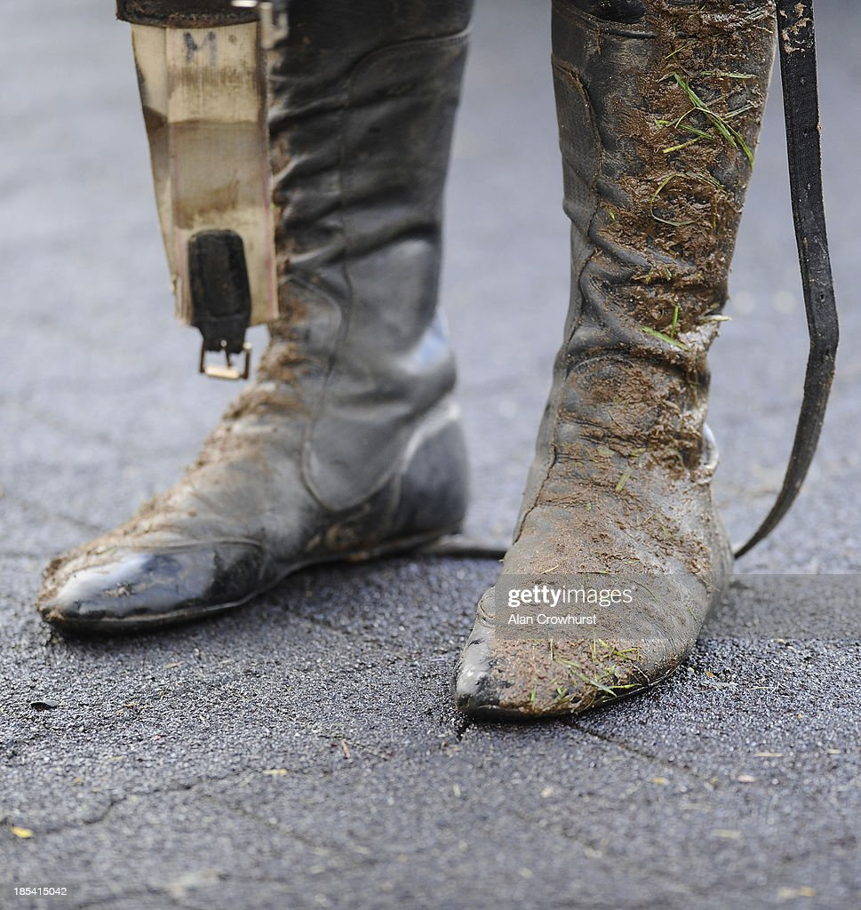 Muddy jockeys boots at Kempton Park racecourse on October 20, 2013 in Sunbury, England.