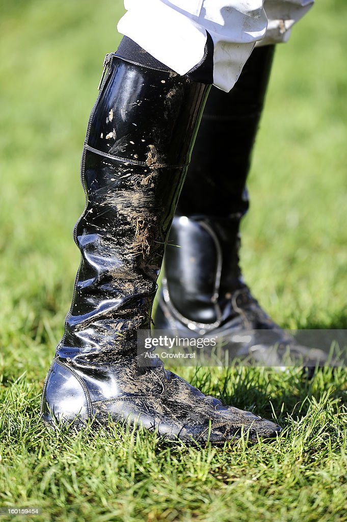 Muddy jockeys boots at Leopardstown racecourse on January 27, 2013 in Dublin, Ireland.