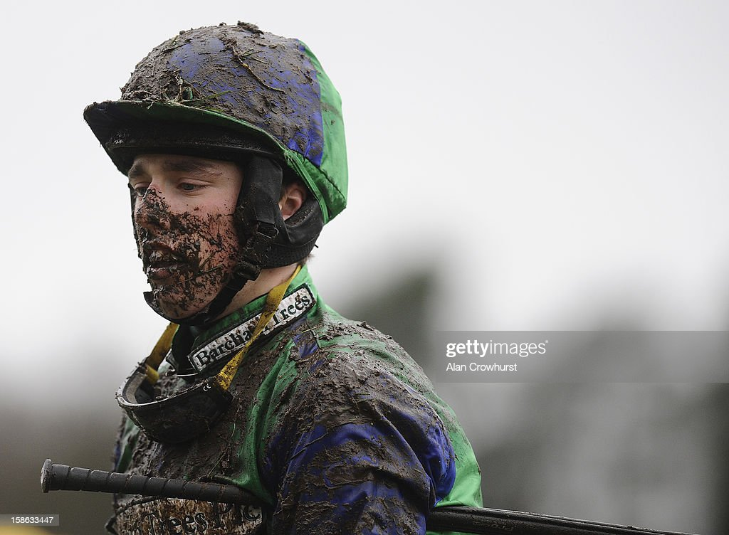A muddy Killian Moore at Ascot racecourse on December 22, 2012 in Ascot, England.