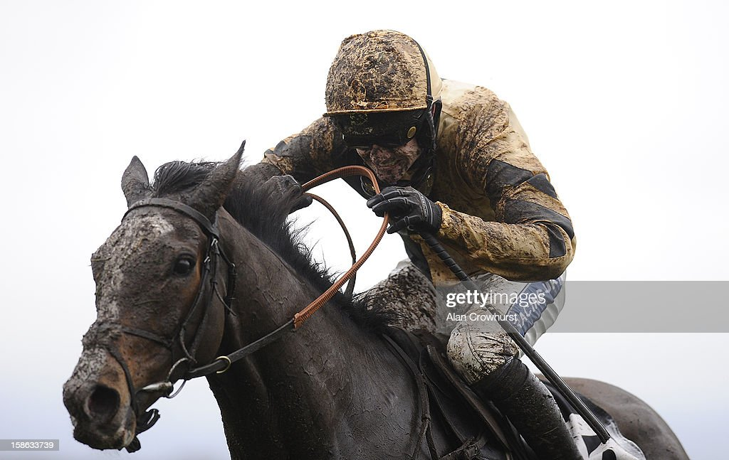 A muddy Ruby Walsh at Ascot racecourse on December 22, 2012 in Ascot, England.