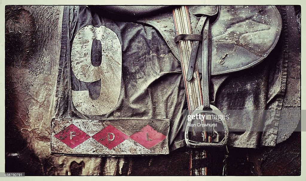 A muddy saddle cloth and saddle at Ascot racecourse on December 21, 2013 in Ascot, England.
