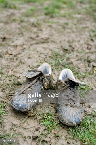 Muddy soccer shoes
