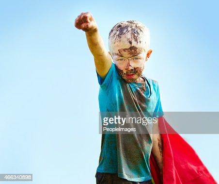 A muddy superhero