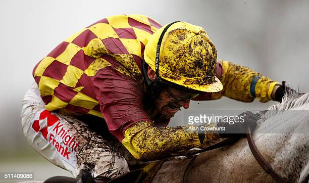 A muddy Tom Scudamore at Ascot racecourse on February 20 2016 in Ascot England