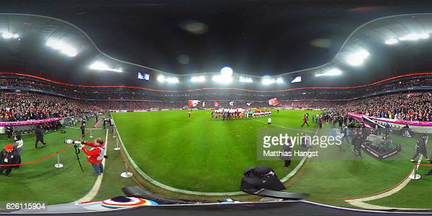 Muenchen and Leverkusen players line up prior to the Bundesliga match between Bayern Muenchen and Bayer 04 Leverkusen at Allianz Arena on November 26...