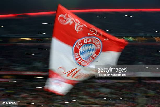 Muenchen supporters celebrate prior to the round of 16 DFB Cup match between FC Bayern Muenchen and Darmstadt 98 at Allianz Arena on December 15 2015...