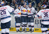 Muenchen Team during the game between the Eisbaeren Berlin and EHC Red Bull Muenchen on February 5 2016 in Berlin Germany