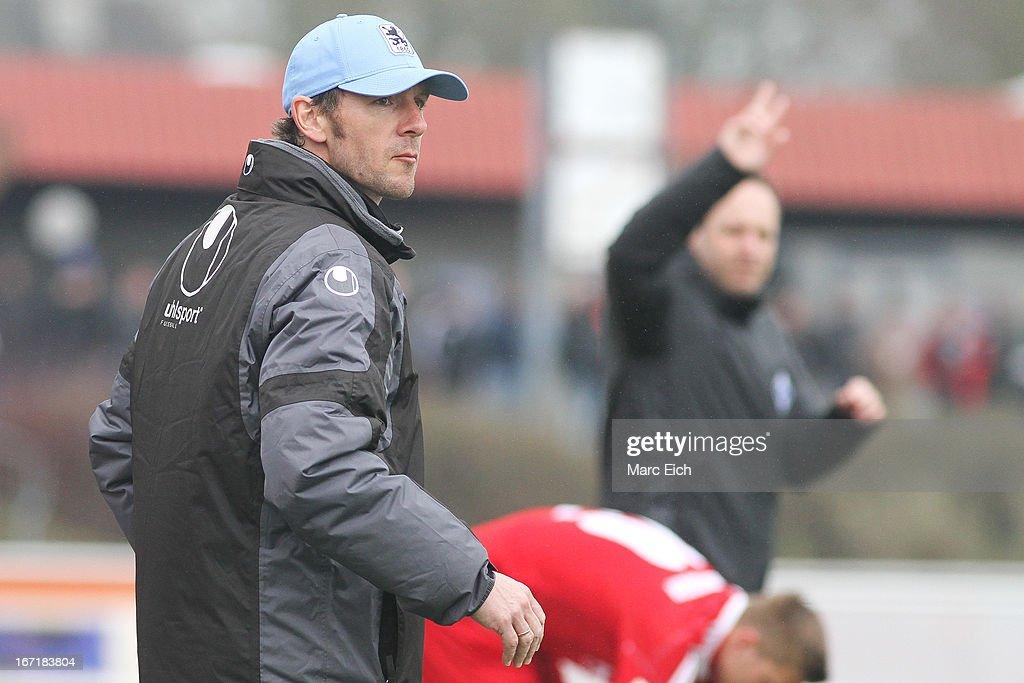 Muenchen's coach Markus von Ahlen looks on during the Regionalliga Bayern match between FV Illertissen and 1860 Muenchen II at Voehlinstadion on April 20, 2013 in Illertissen, Germany.