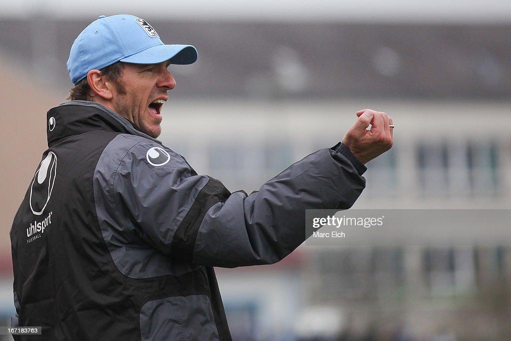 Muenchen's coach Markus von Ahlen reacts during the Regionalliga Bayern match between FV Illertissen and 1860 Muenchen II at Voehlinstadion on April 20, 2013 in Illertissen, Germany.