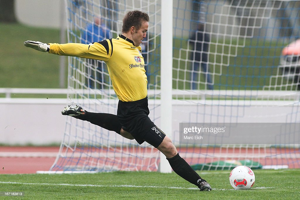 Muenchen's goalkeeper Kai Fritz in action during the Regionalliga Bayern match between FV Illertissen and 1860 Muenchen II at Voehlinstadion on April 20, 2013 in Illertissen, Germany.