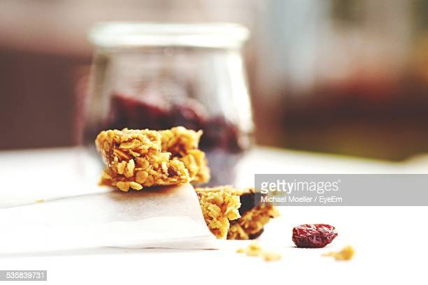 Muesli Bar With Cranberry On Table