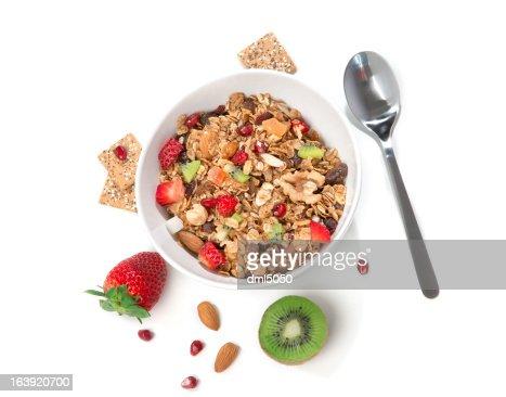 Muesli cereales bowl y la cuchara : Foto de stock
