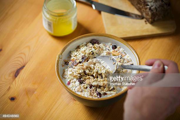 Muesli in a bowl stands on a table on October 24 2015 in Berlin Germany