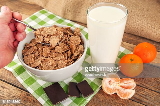 muesli milk and chocolate : Stock Photo