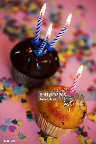 Muffin, candle, confetti, sugar sprinkles