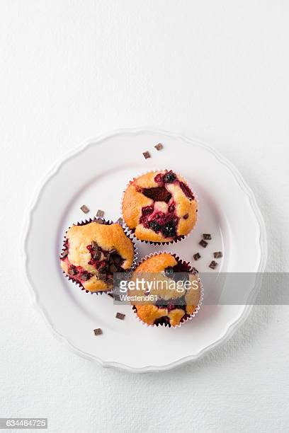 Muffin with chocolate chips, blueberries and raspberries on plate