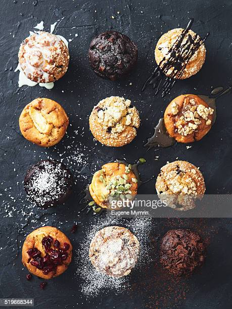 Muffins with nuts, fruits and chocolate