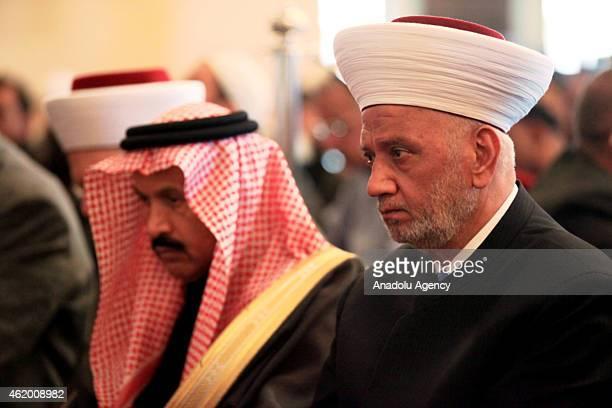 Mufti of Lebanon Sheikh Abdullatif Deryan leads a funeral prayer in absentia for Saudi King Abdullah bin Abdulaziz at Mohammed alAmin mosque in...