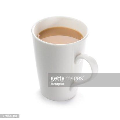 Mug of English breakfast tea on a white background