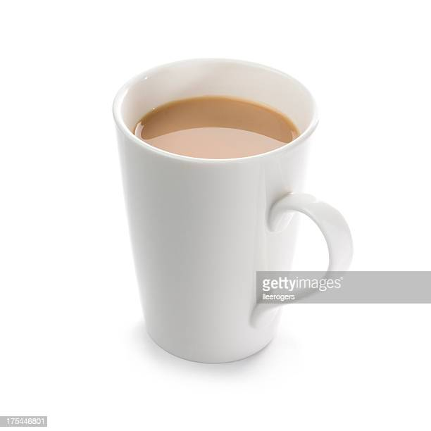 Mug of English breakfast tea on a white background