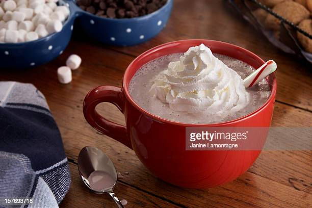 Mug of steamy Hot Chocolate and Whipped Cream