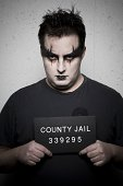 Mug shot of gothic man