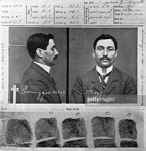 Mug shot of Vincenzo Perugia the Italian man who stole the Mona Lisa out of the Louvre Museum in Paris Perugia claimed he completed the act out of...