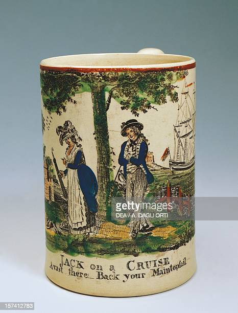 Mug with painted courtly scene ca 1785 ceramicStaffordshire manufacture England 18th century